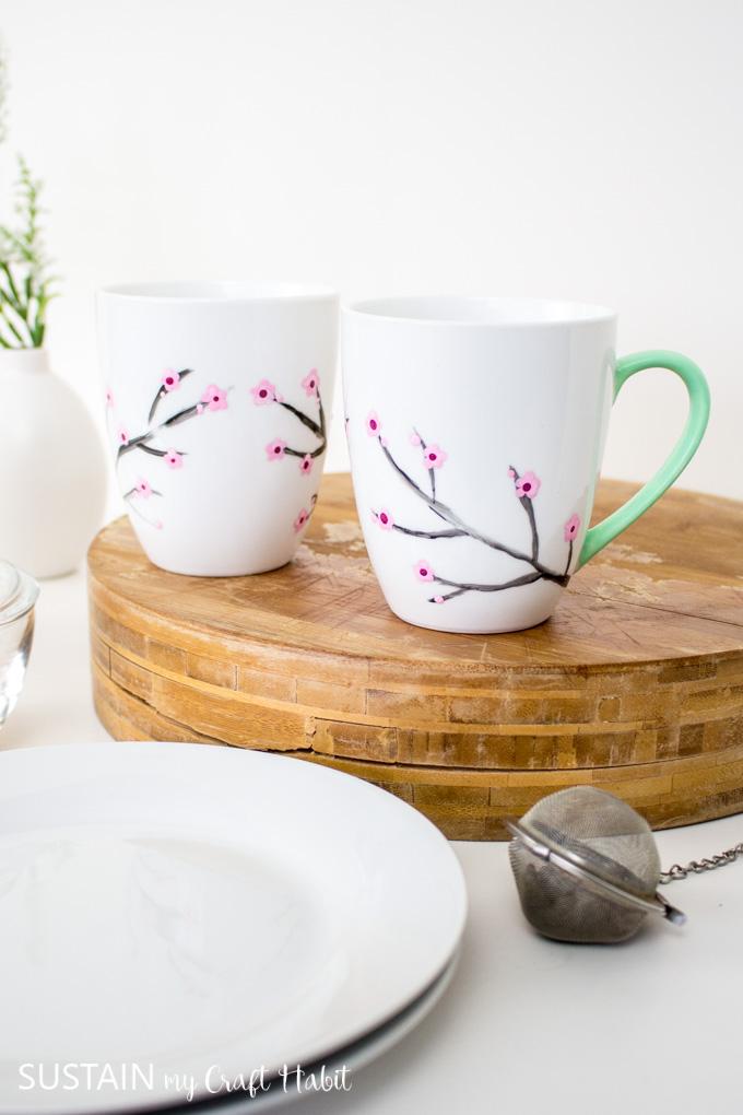Cherry blossom mug painted