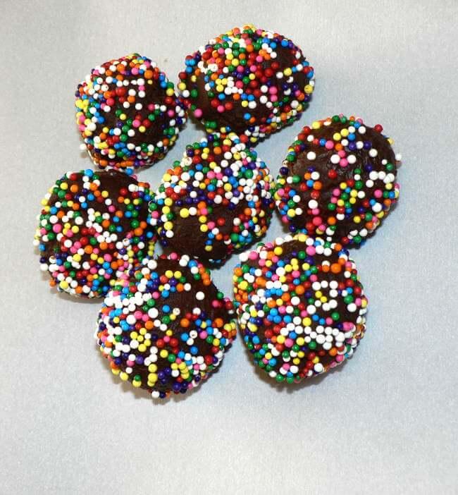 Rainbow chocolate truffles