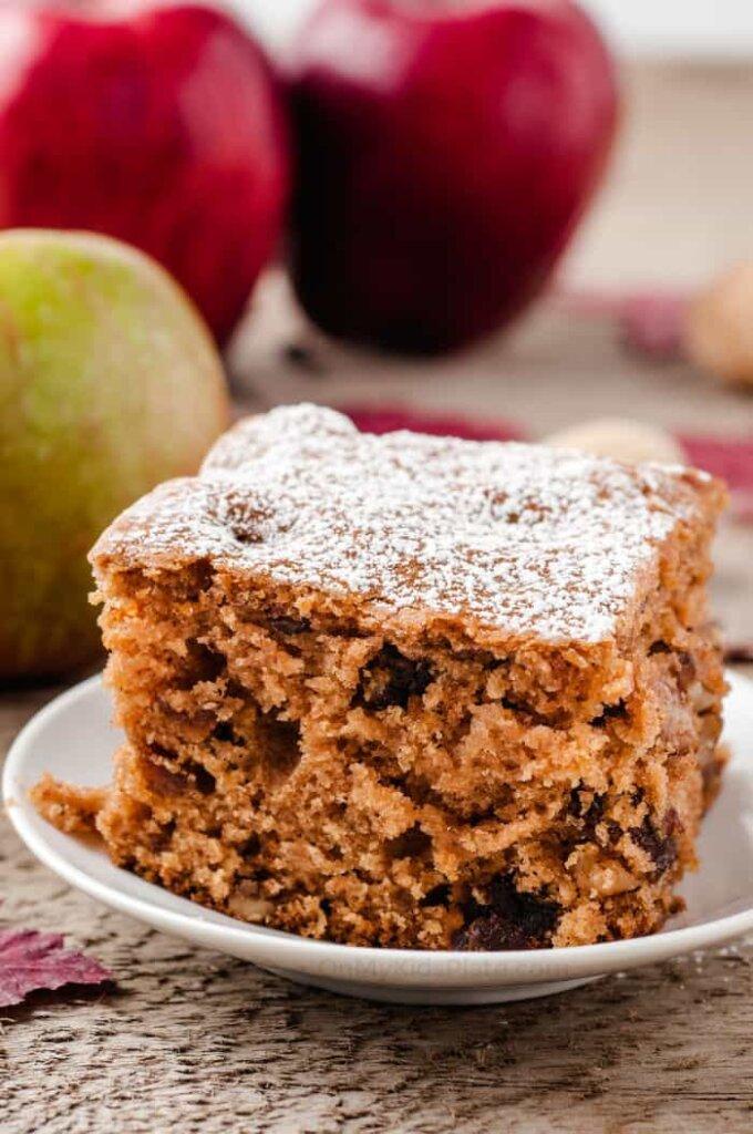 Apple walnut cake slice