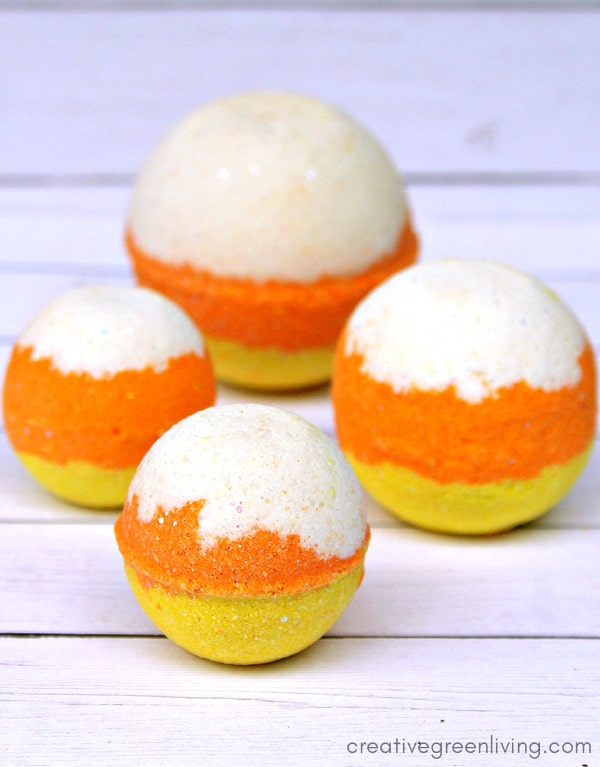 Candy corn Halloween bath bombs