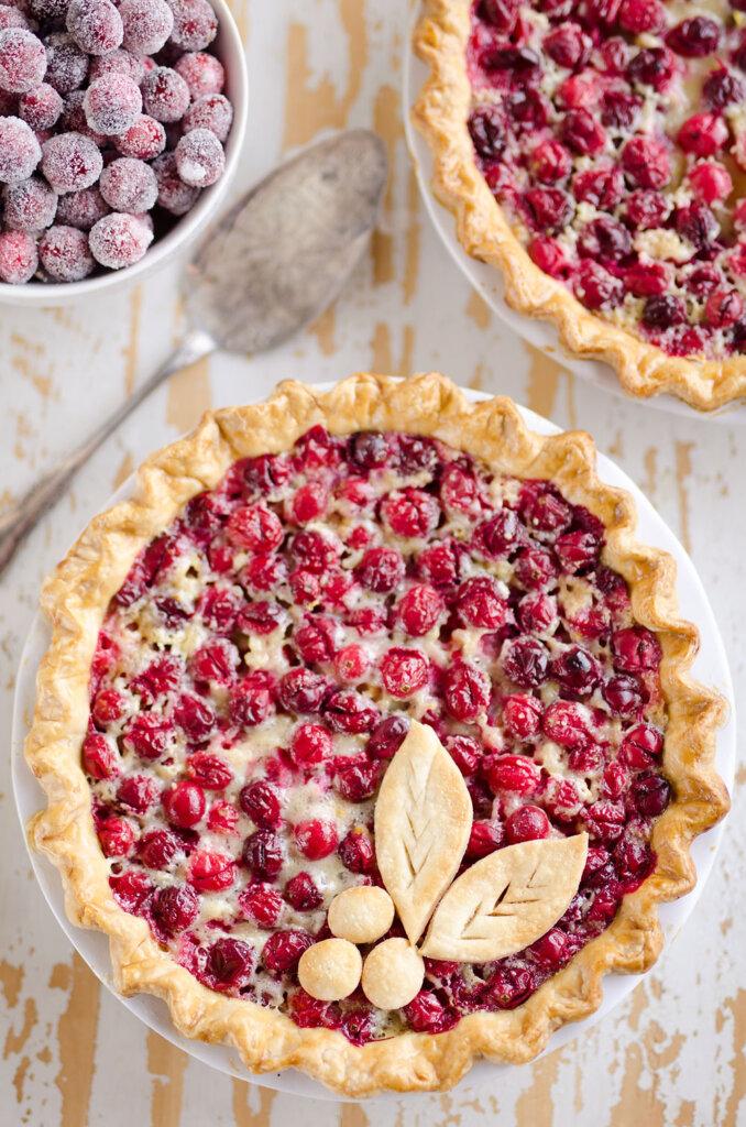 Cranberry orange custard pie