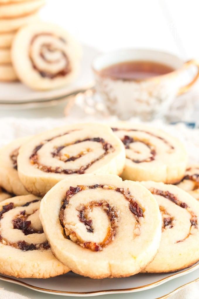 Cranberry orange spiral cookies