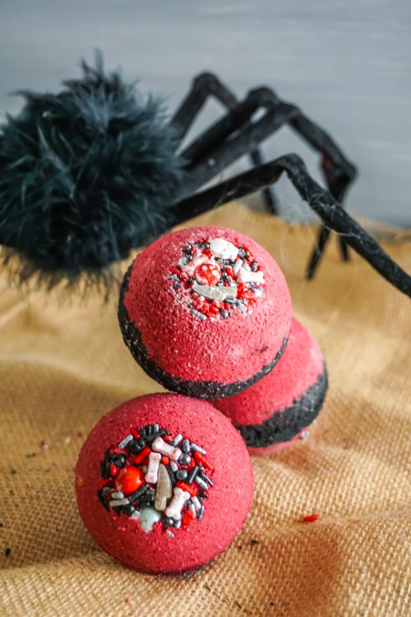 Red and black bath bombs