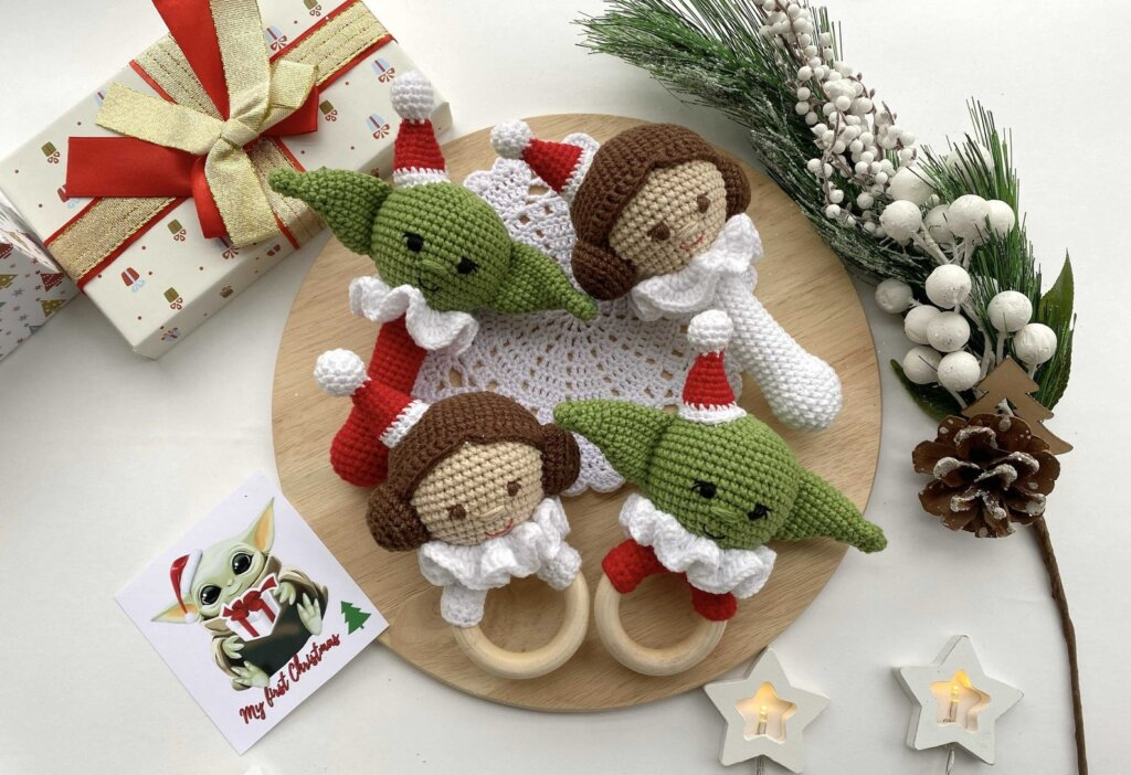 Leia and Baby Yoda baby rattles