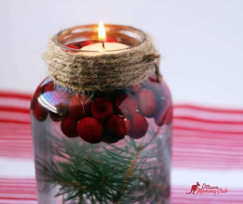 Christmas candle mason jar
