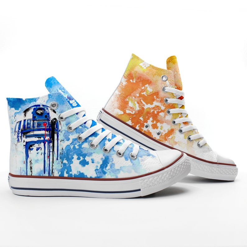 Custom R2-D2 and BB-8 sneakers