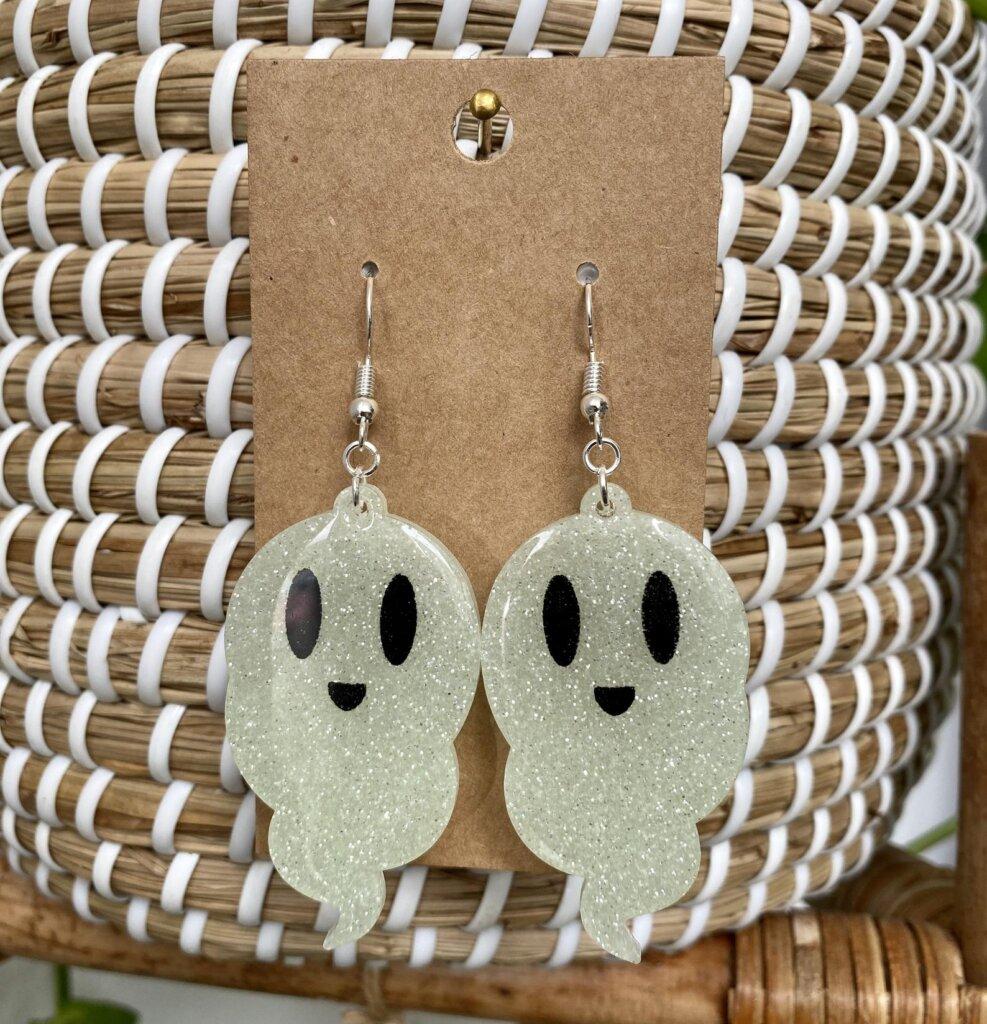 Glitter ghost earrings