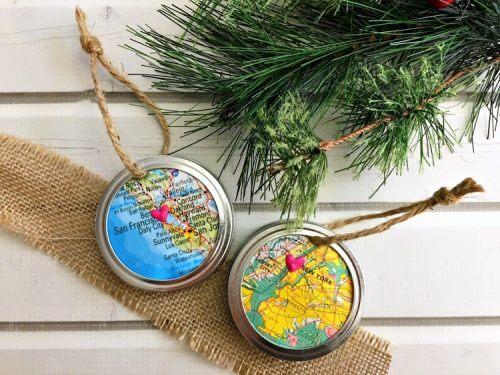 Mason jar map ornament
