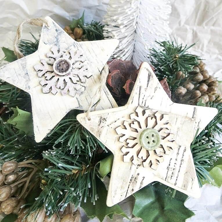Rustic star ornaments