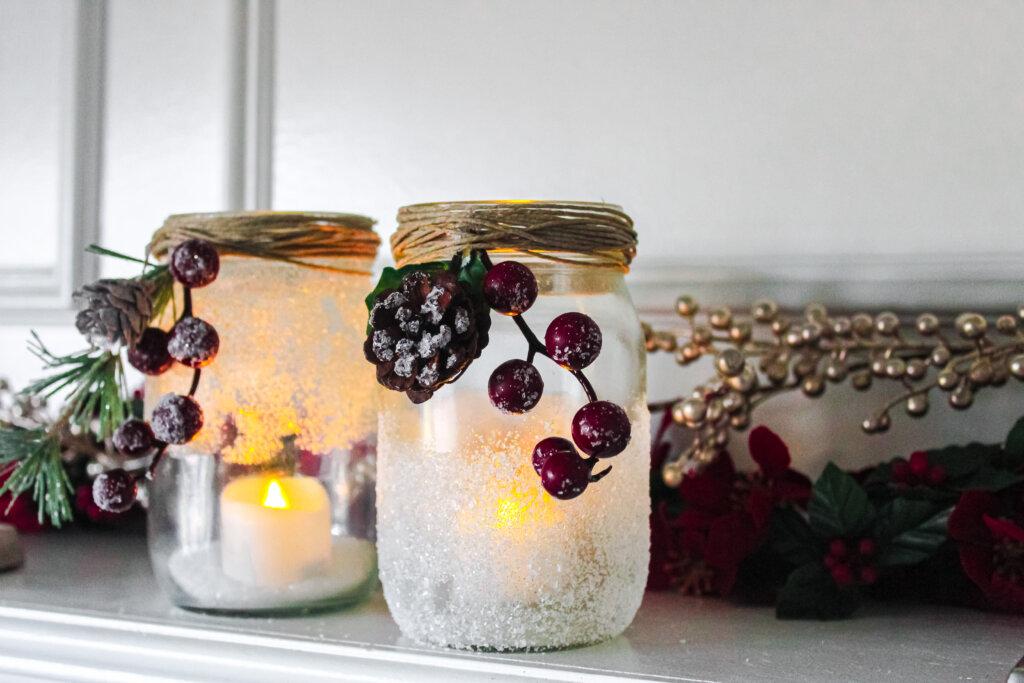 Snow jar candle holder