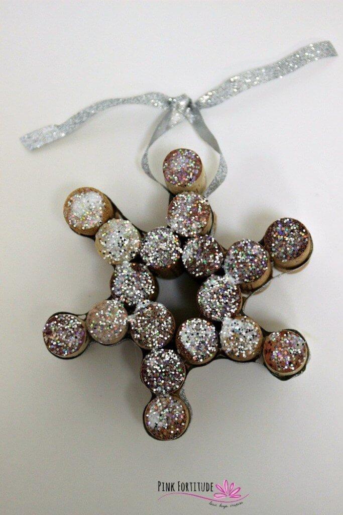 Cork snowflake ornament