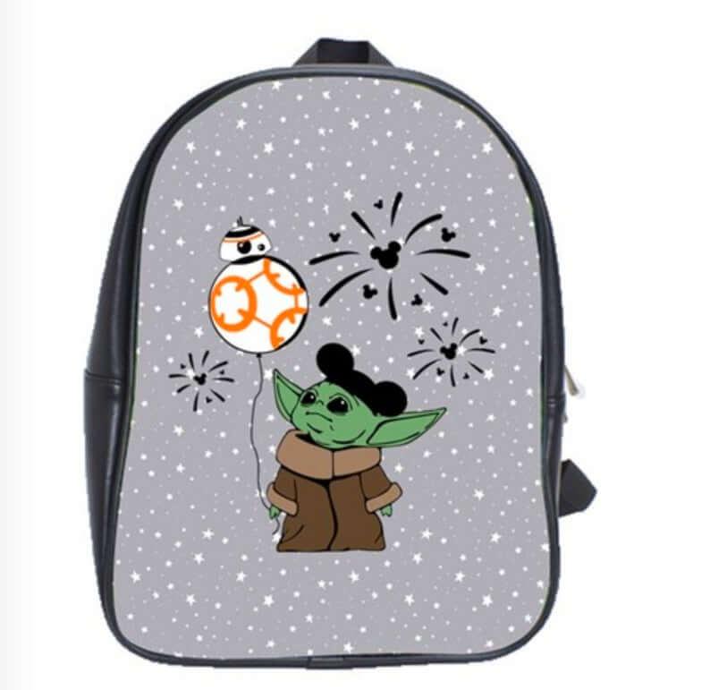 Baby Yoda with BB-8 balloon